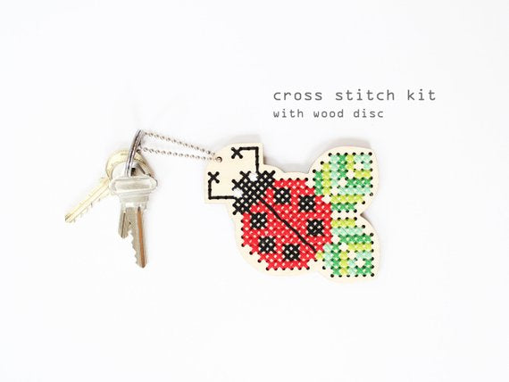 Lucky Ladybug - Modern Counted Cross Stitch Wood kit by Diana Watters