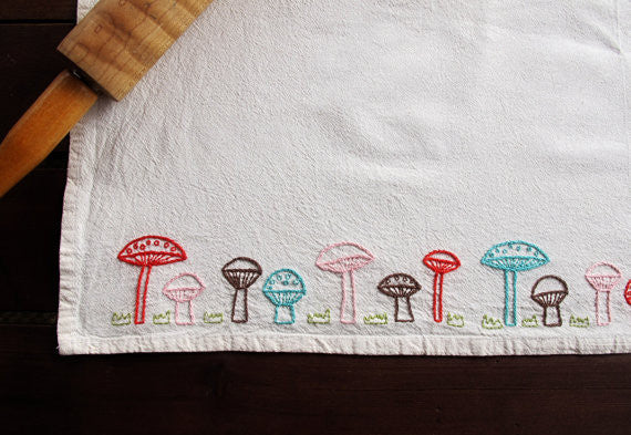 Mushroom Row Iron On Embroidery Pattern by Cozy Blue