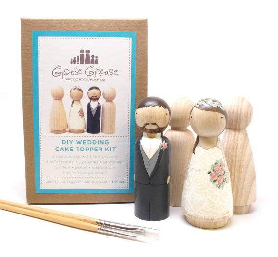DIY Cake Topper Kit--- Little Wooden Peg Doll Kit-- Goose Grease Studios