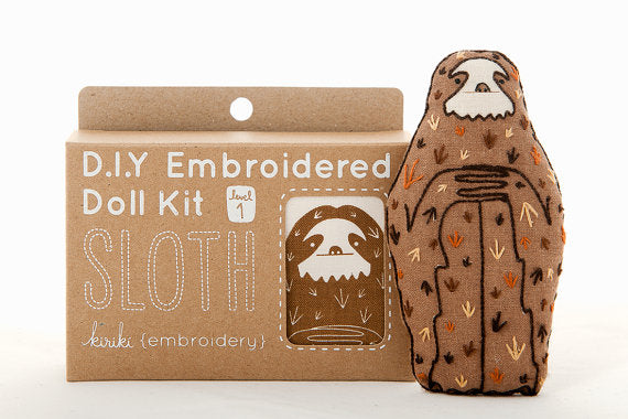 Sloth Embroidery Kit --- Kiriki Press
