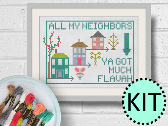 Cross Stitch Kit All My Neighbors Modern Hoop Art Craft