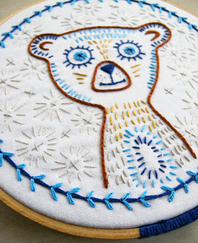 Blinky Bear Iron On Embroidery Pattern by Cozy Blue
