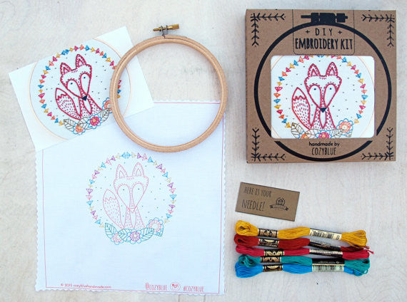Craft Fox Embroidery Kit by Cozy Blue