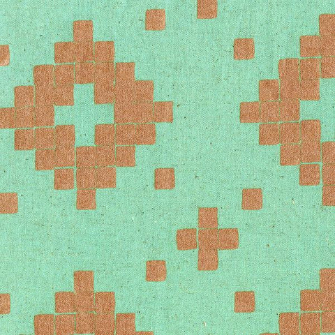 Tile Aqua Metallic Copper Canvas--Cotton + Steel-- Mesa by Alexia Marcelle Abegg