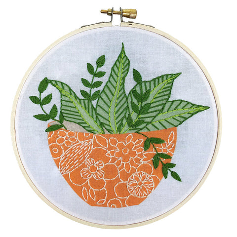 Orange Flower Pot Embroidery Kit -- RikRack Embroidery