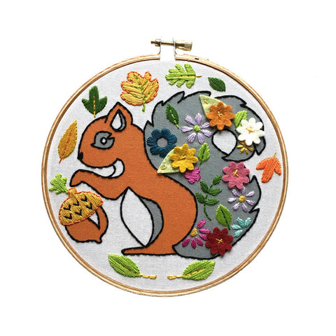 Squirrel Embroidery Kit -- RikRack Embroidery