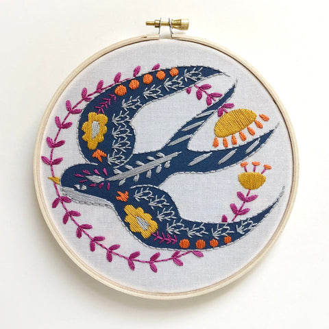 Swallow Embroidery Kit -- RikRack Embroidery