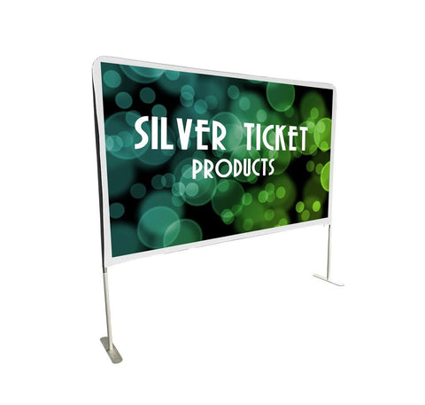 "STE-169100 Silver Ticket Entry Level 100"" 16:9 Indoor / Outdoor Portable Backyard Movie Projector Screen White Cloth Material"