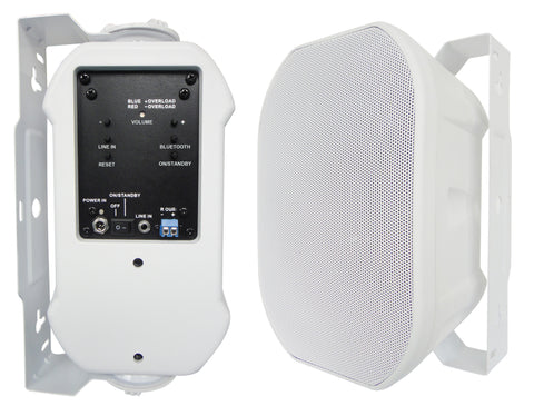 "52BTW Silver Ticket Products 5"" Active Bluetooth Indoor / Outdoor Patio Speaker Pair (White)"
