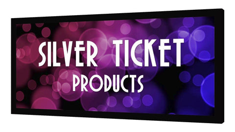 "USED ACCEPTABLE STR-169100-HC Silver Ticket Products, CLEARANCE 100"" Diagonal, 16:9 Cinema Format, 4K / 8K Ultra HD & HDR Ready, (6 Piece Fixed Frame) Projector Screen, High Contrast Grey Material"