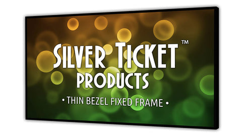 "STT-169106 Silver Ticket, 106"" Diagonal, Thin Bezel, 16:9 Cinema Format 4K / 8K Ultra HD & HDR Ready, HDTV (6 Piece Fixed Frame) Projector Screen, White Material"