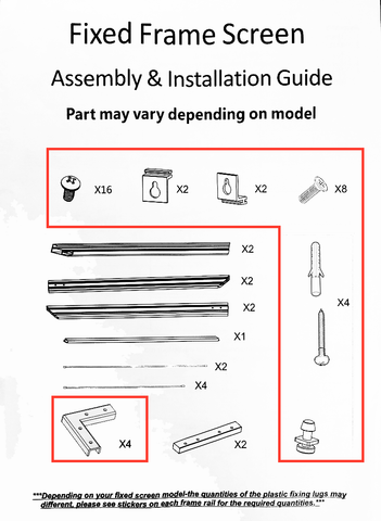 Hardware Kit for Fixed Frame Screens