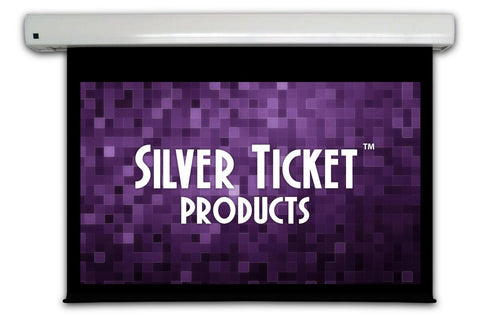 "SME-169100 Silver Ticket 100"" Diagonal 16:9 HDTV Wall-Mounted Electric Motorized Projector Screen White Material"