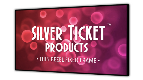 "STT-169150-AGP Silver Ticket 150"" Diagonal, Thin Bezel 16:9 Widescreen 4K Ultra HD & HDR Ready (6 Piece Fixed Frame) Projector Screen, AGP Dark Grey Acoustic Mini Perf with Black Backing"