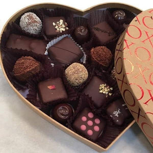 Valentine's Day Assorted Raw Chocolate, large heart box - Super Natural Chocolate Co