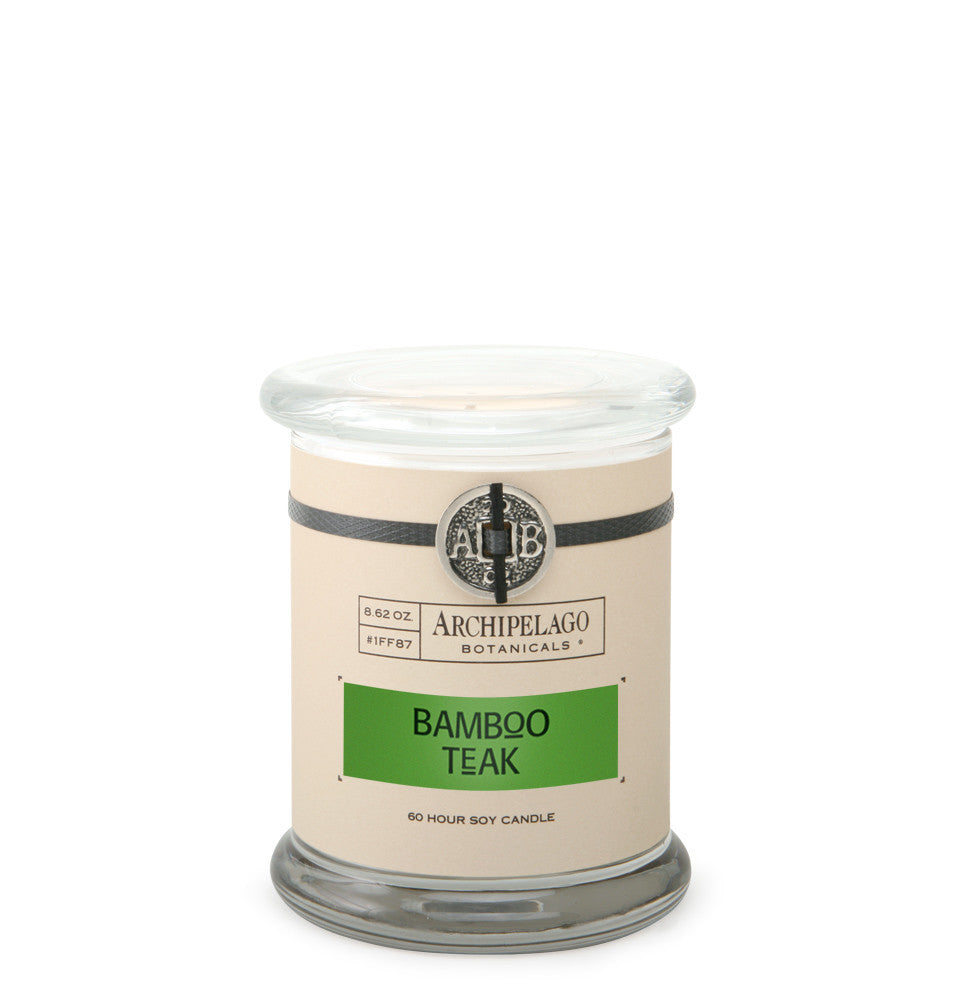 Bamboo Teak Glass Jar Candle features a signature blend of Green Bamboo, Teak, and Musk infused into soy wax