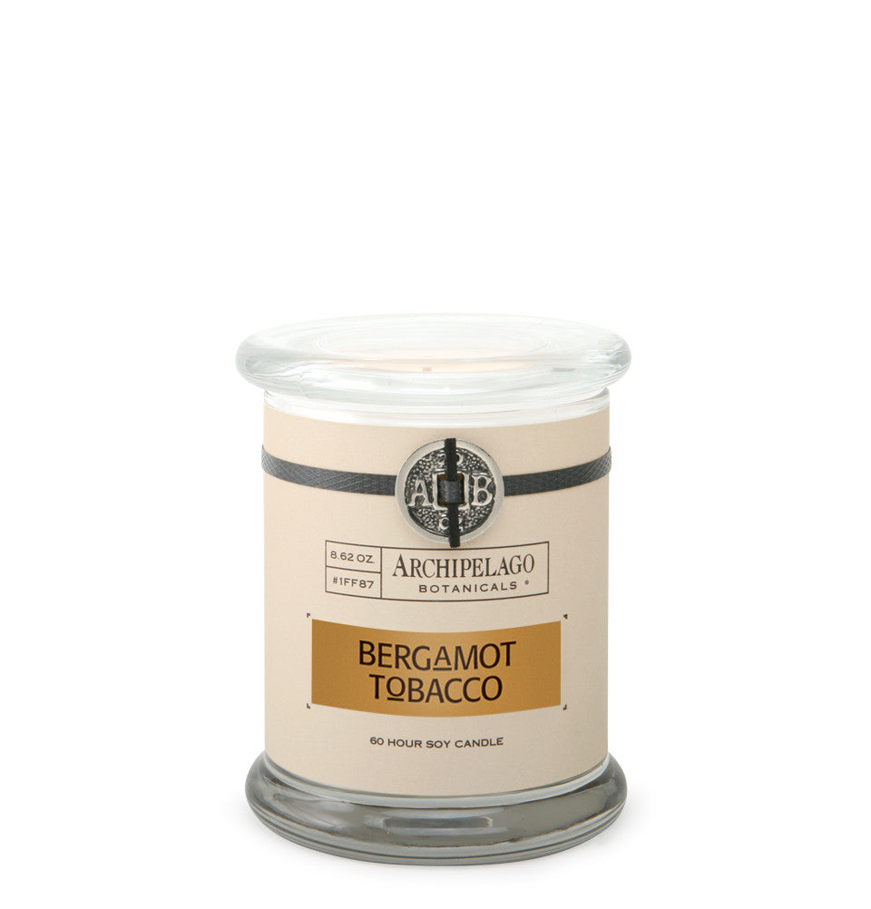 Bergamot Tobacco Glass Jar Candle features soy wax that is infused with a blend of Italian Bergamot, Tobacco Flowers, and Earthy Patchouli