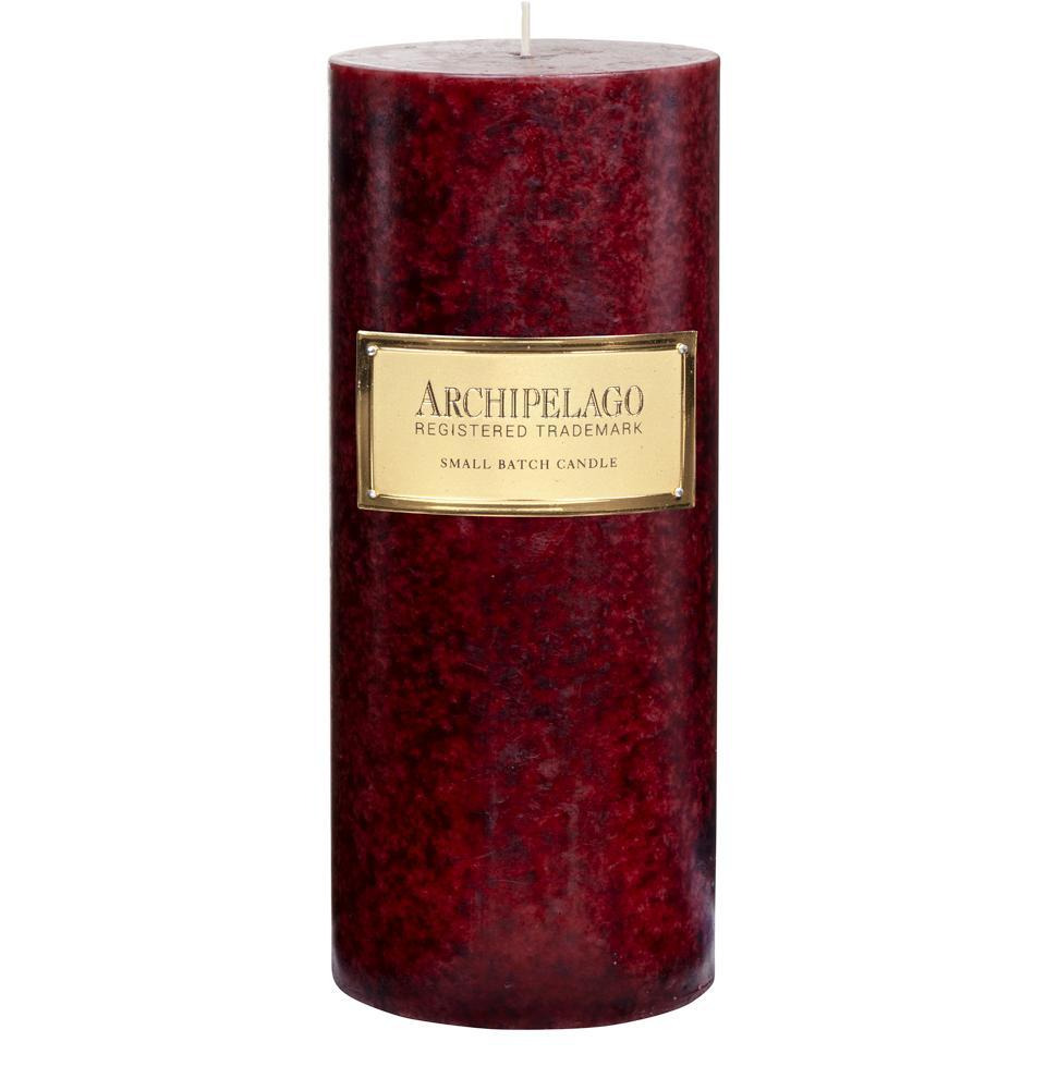 Joy Pillar Candle is filled with the warm holiday fragrance blend of Orange Zest, Crushed Cinnamon and Spice - Archipelago