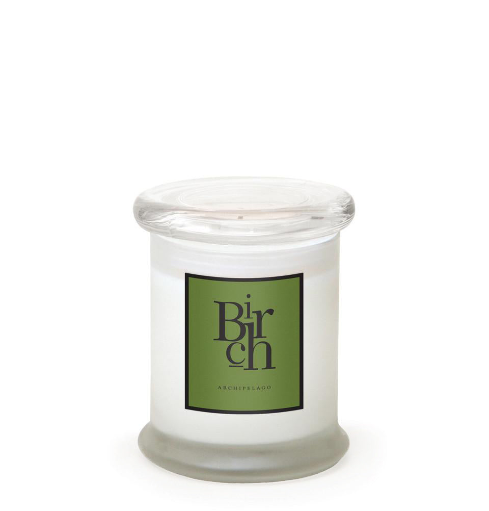 Birch Frosted Jar Candle is made with soy wax that is infused with White Birch, Balsam Sap, and Evergreen Needles with a hint of Amber and Moss