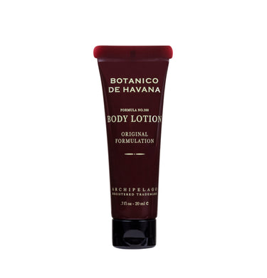 Botanico de Havana travel size body lotion is blended with jojoba esters, sugar cane, pineapple, and orange oil