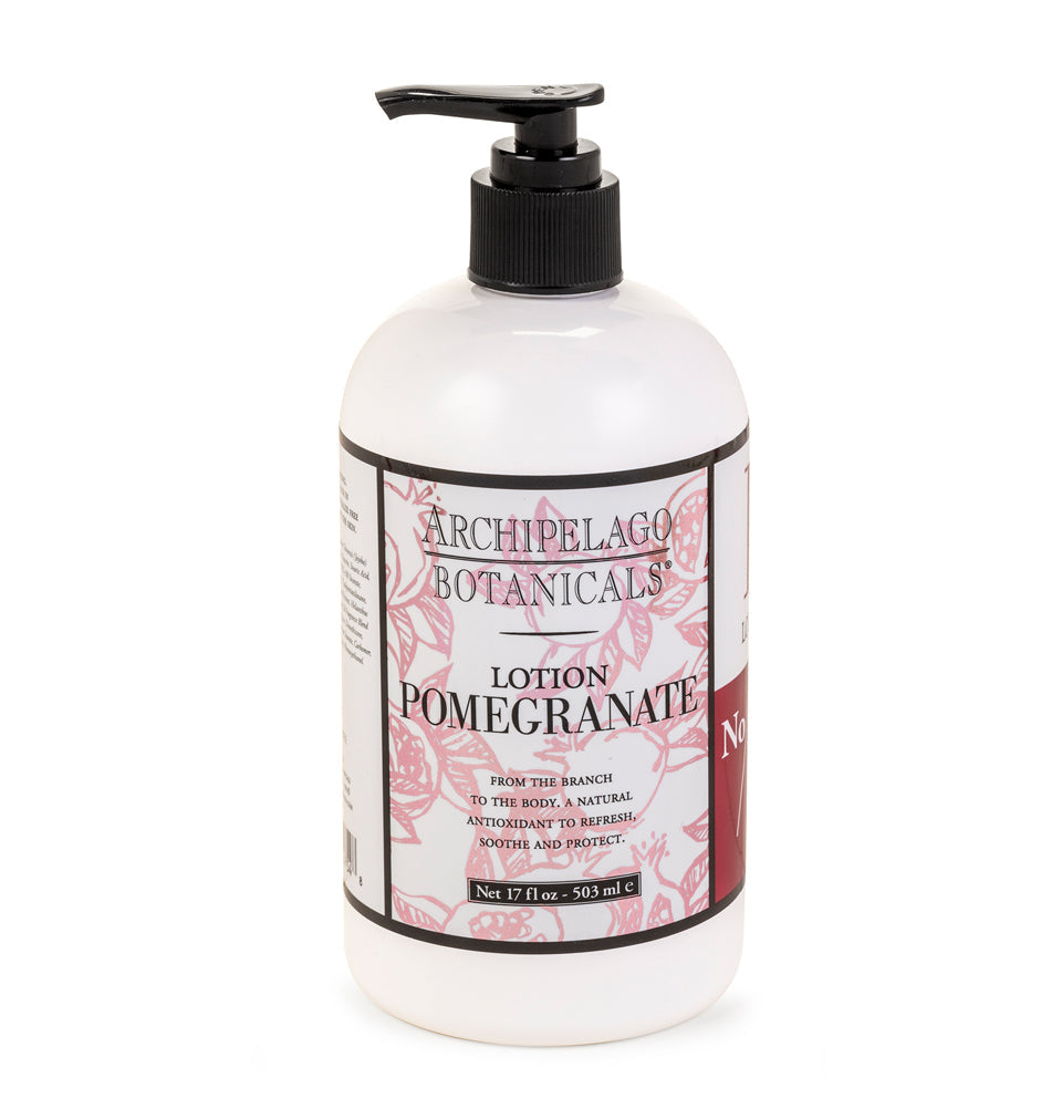 Pomegranate 17 oz. Lotion is Paraben Free, Gluten Free, Vegan,  contains no Phthalates, has no artificial colors, 100% Cruelty-Free, 100% Non-GMO, and made with Organic Extracts - Archipelago