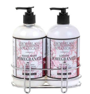 Pomegranate Hand Wash & Lotion Set features a delicate fragrance of Ripe Pomegranates, Valencia Oranges, and White Peaches making it the perfect way to give the gift of luxurious skin - Archipelago