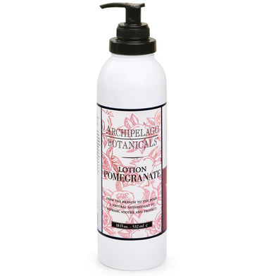 The Pomegranate 18 oz. Lotion features an exquisite balance of Ripe Pomegranates, Valencia Oranges, and White Peaches. Paraben Free, Gluten Free, Vegan. - Archipelago