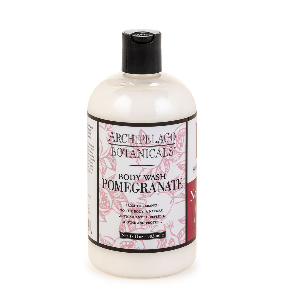 The Pomegranate 17 oz. Body Wash is Paraben & Sulfate free and will leave your skin feeling fresh, clean, and delicately scented - Archipelago
