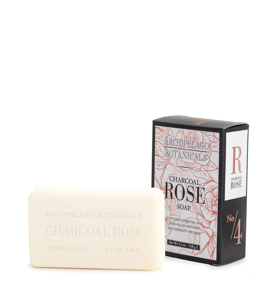 Charcoal Rose Bar Soap is triple-milled and infused with the detoxifying benefits of activated charcoal and the hydrating benefits of Fresh Roses