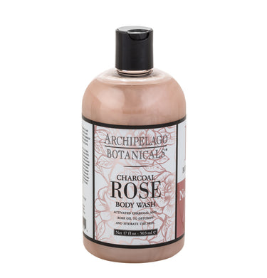 Charcoal Rose 17 oz Body Wash is filled with an enticing blend of subtle charcoal and fresh roses