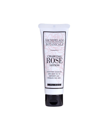 Charcoal Rose Travel Size Body Lotion is made with an enticing blend of activated charcoal and fresh roses