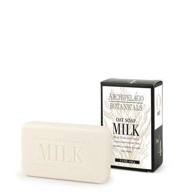 Oat Milk Bar Soap features a rich blend of dried milk proteins and gentle ingredients cleanse and gently scrub the skin.