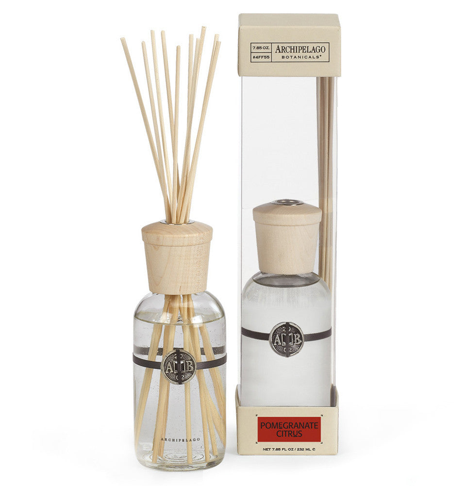 Pomegranate Citrus Reed Diffuser features a distinctive blend of Pomegranates, Blood Red Oranges, Grapefruit, Red Currants and Pineapple - Archipelago