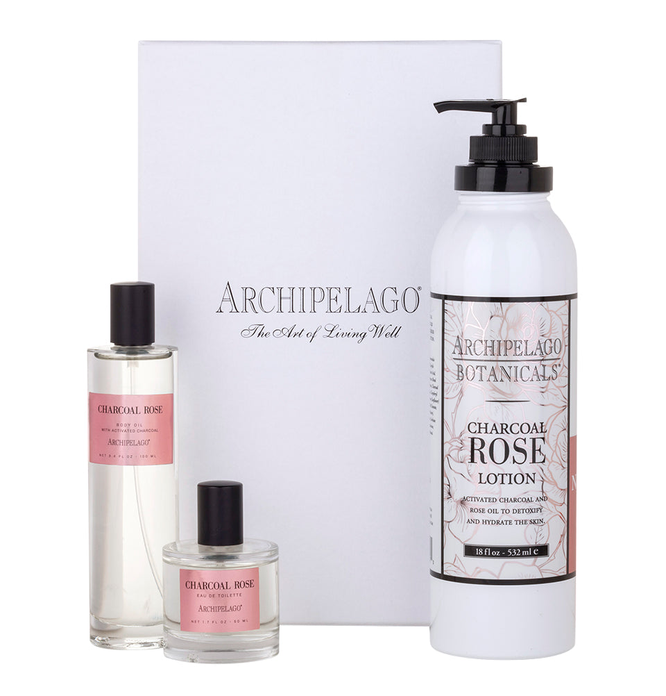 Charcoal Rose Trio Gift Set contains a Charcoal Rose 18 oz Lotion, Body Oil, and Eau de Toilette