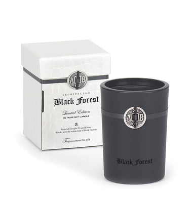 Black Forest Boxed Soy Candle is made with a warm and sultry fragrance blend of Black Currants, Douglas Fir, and Dark Ebony Woods that is infused into soy wax