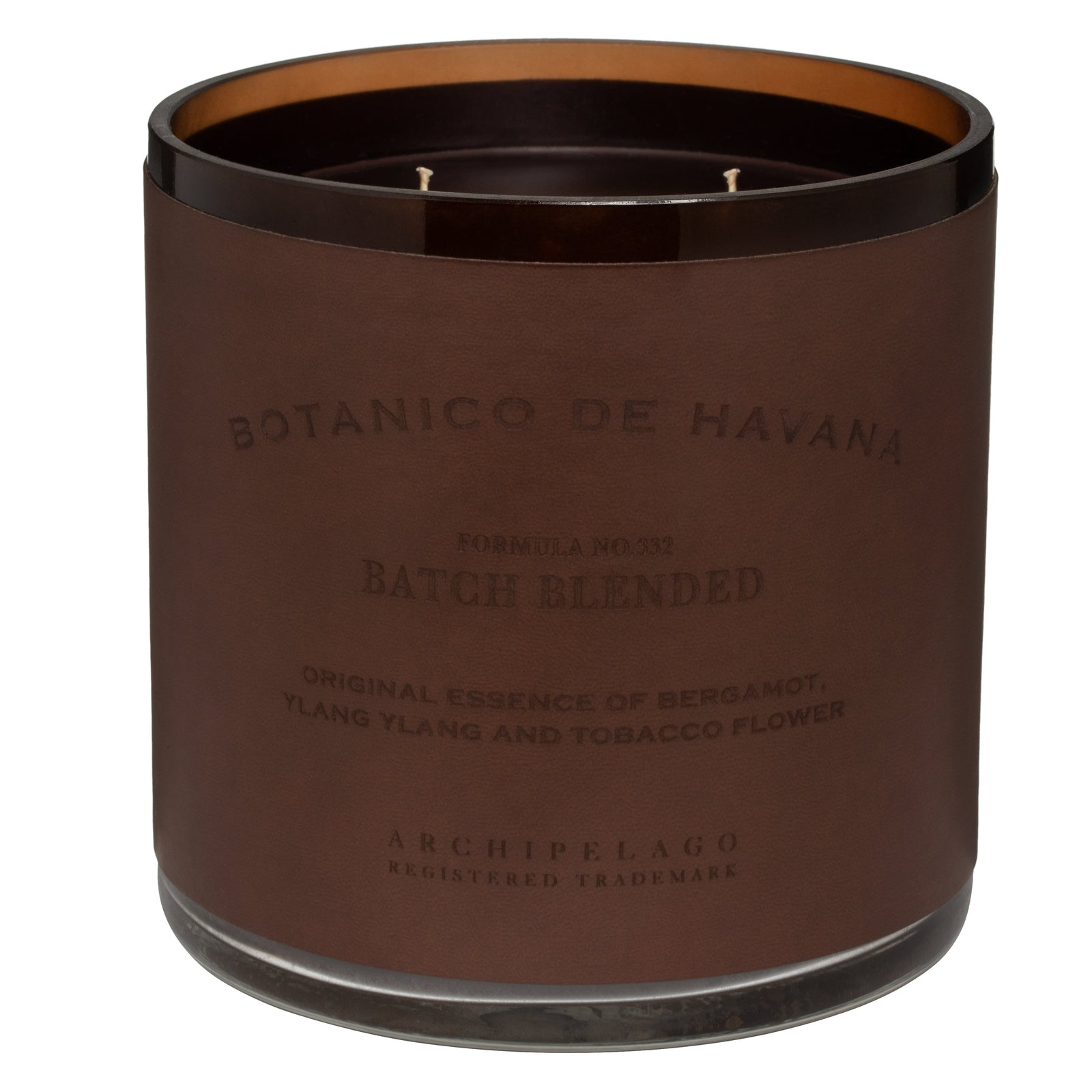 The XL 3 Wick Botanico de Havana Candle is a dramatic and impressive addition to any desk, table or mantel, and is the one decorative accessory that will deliver hundreds of hours of the Botanico Fragrance blend of Bergamot, Tobacco Leaf, and Ylang Ylang
