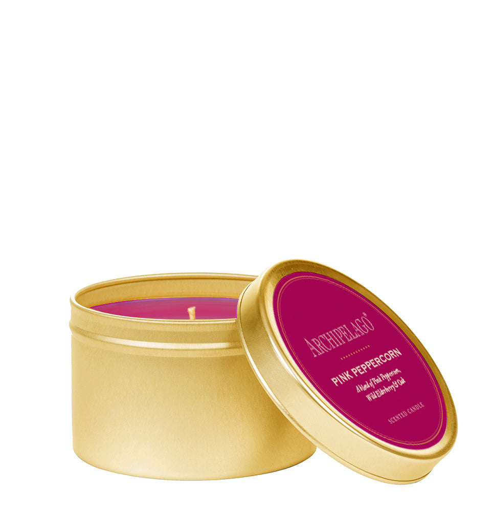 Pink Peppercorn Gold Tin Candle