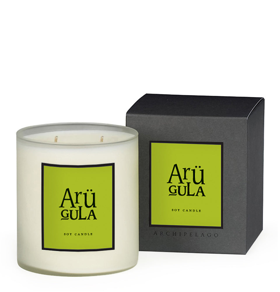 Arugula Boxed Candle is made with soy wax that is infused with Arugula Root, Red Currants, Cyclamen Leaves, and Rose Petals