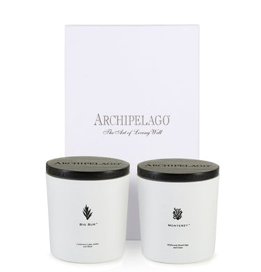 California Wood Duo two candle gift set contains our Big Sur and Monterey Luxe Candles