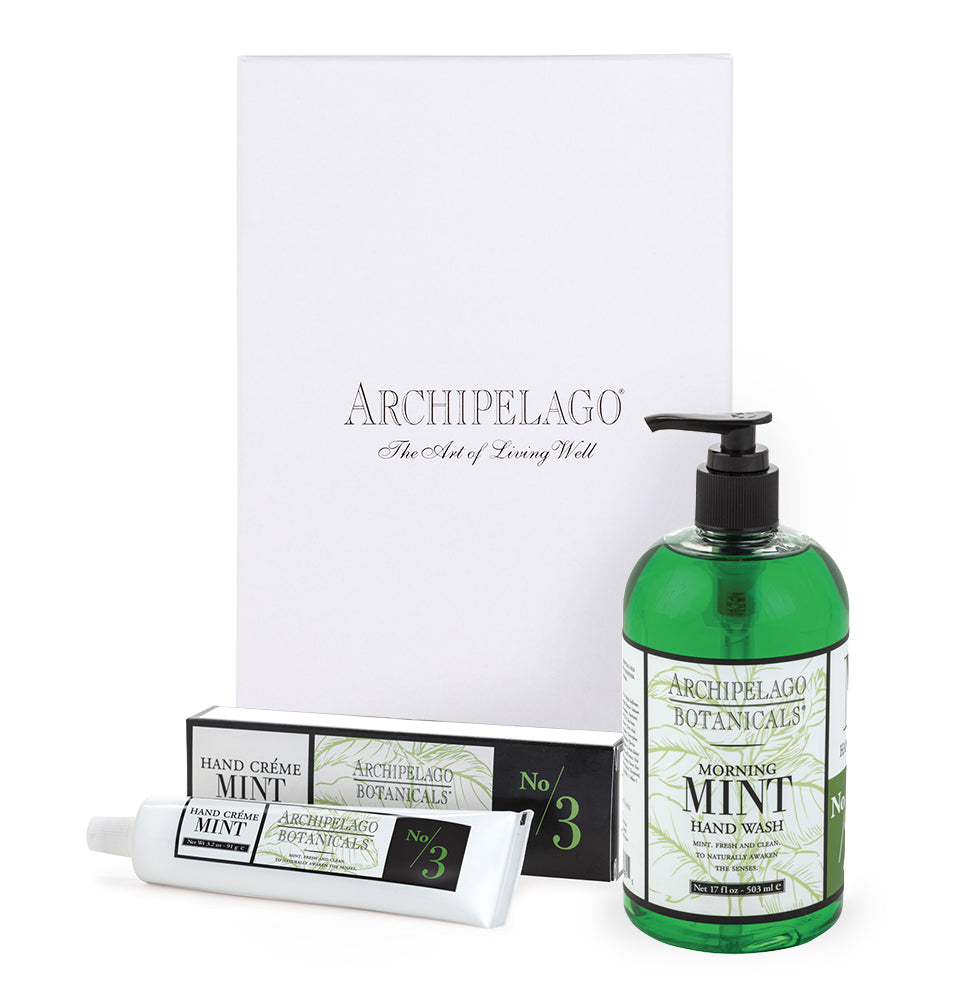 Morning Mint Hand Crème & Hand Wash Set notes of wild mint and mandarin orange give our Mint Hand Cream a refreshing scent