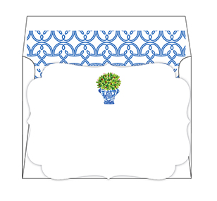 Blue and White Potted Plant Stationary Set