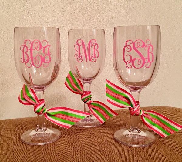 Unbreakable Monogrammed Wine Glasses