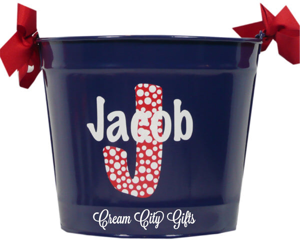Modern Dotted Monogram Bucket
