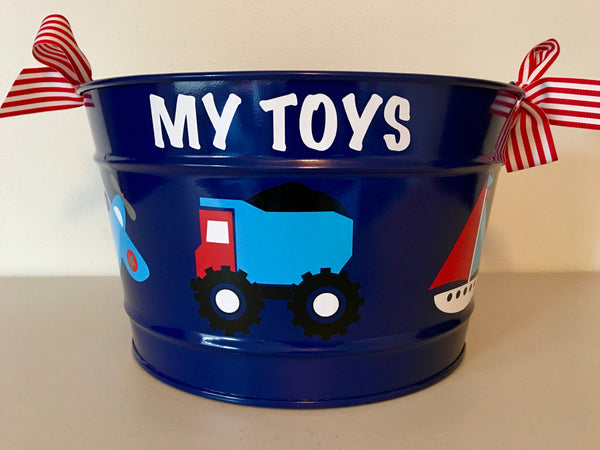 "Navy Blue ""My Toys"" Bucket"