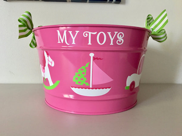 "Pink ""My Toys"" Bucket"