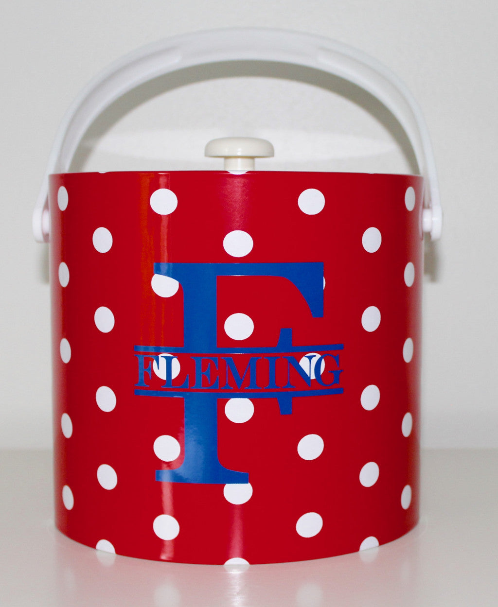 Monogrammed Polka Dot Ice Bucket