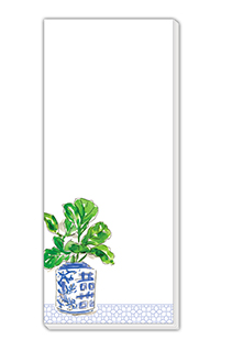 Skinny Notepad w Charming Potted Plant