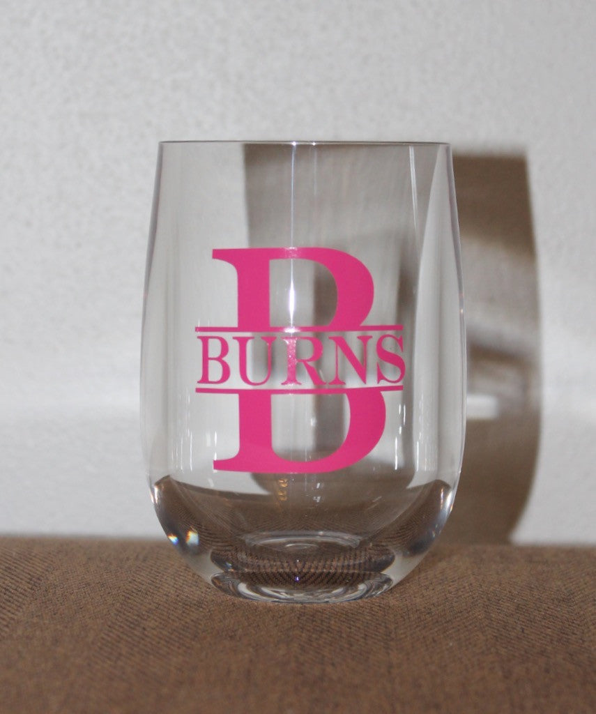 Unbreakable Monogrammed Stemless Glass
