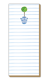 Luxe Skinny Notepad w Topiary in Blue Urn