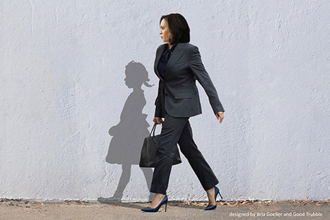 Image created by Bria Goeller based on the vision of Carl Gordon Jones with Kamala Harris and Ruby Bridges as her shadow.